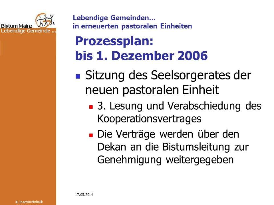 Prozessplan: bis 1. Dezember 2006