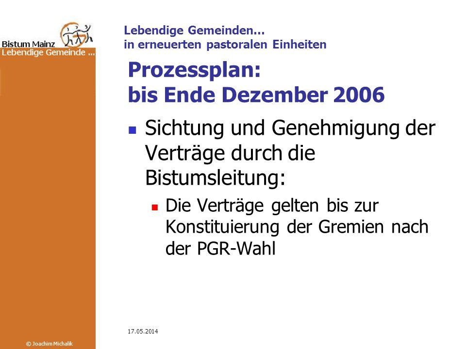 Prozessplan: bis Ende Dezember 2006