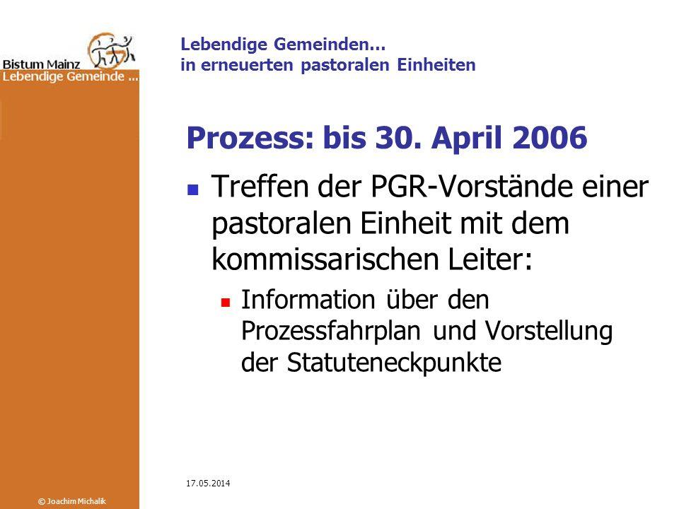 Prozess: bis 30. April 2006 Treffen der PGR-Vorstände einer pastoralen Einheit mit dem kommissarischen Leiter: