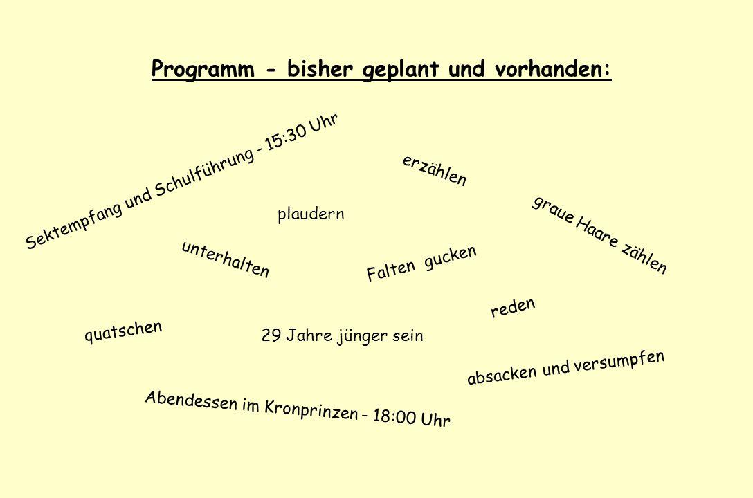 Programm - bisher geplant und vorhanden:
