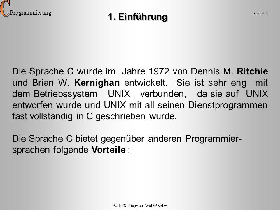 Programmierung 1. Einführung. Seite 1.