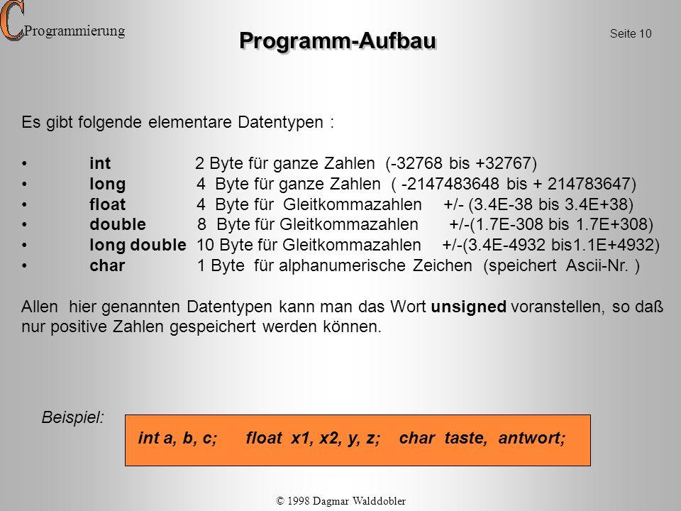 Programm-Aufbau Es gibt folgende elementare Datentypen :