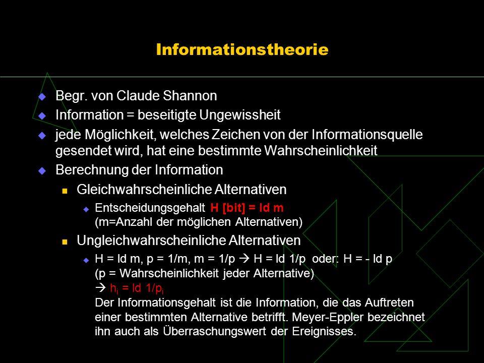 Informationstheorie Begr. von Claude Shannon