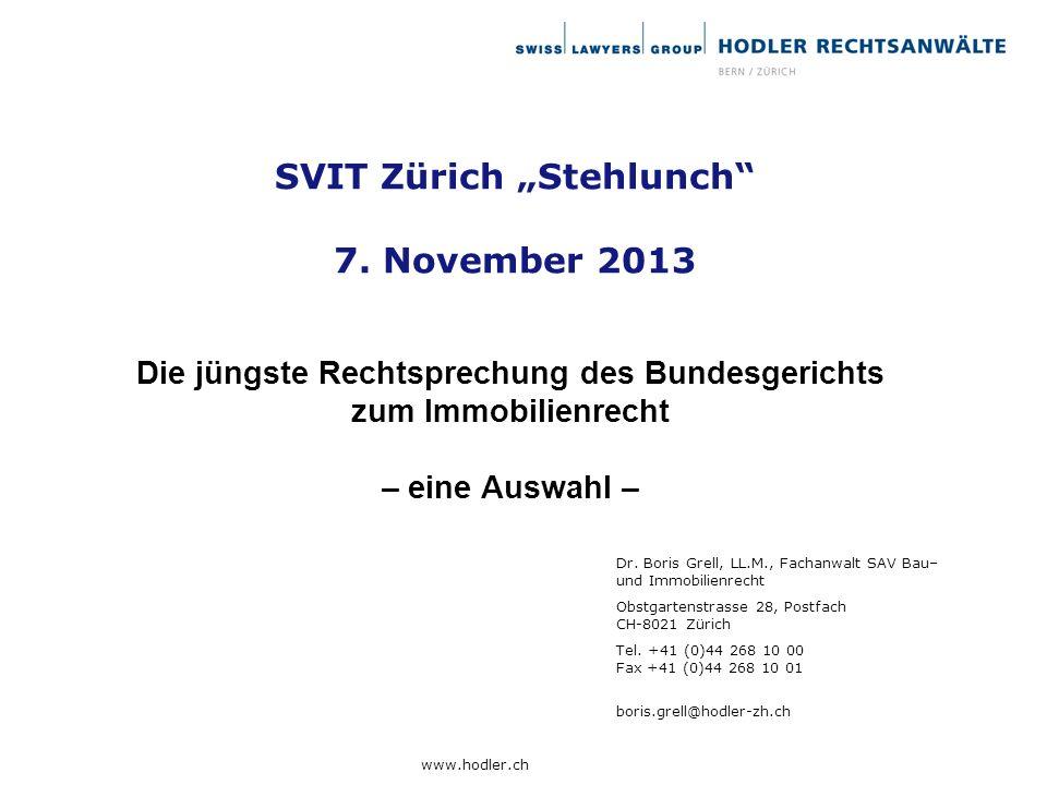 """SVIT Zürich """"Stehlunch 7. November 2013"""