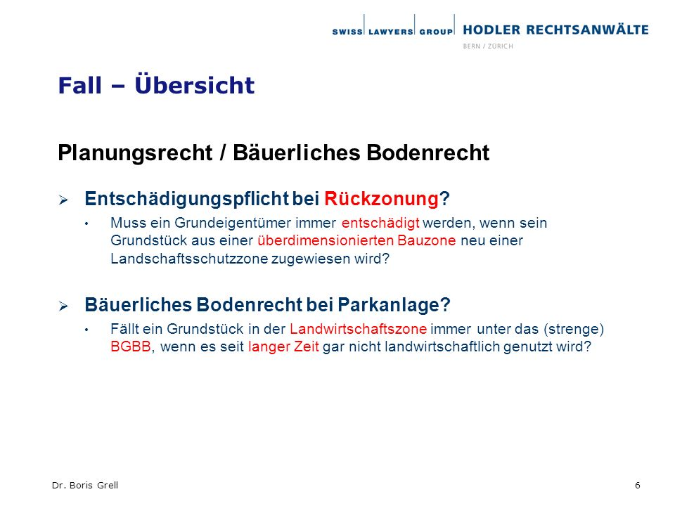 Planungsrecht / Bäuerliches Bodenrecht