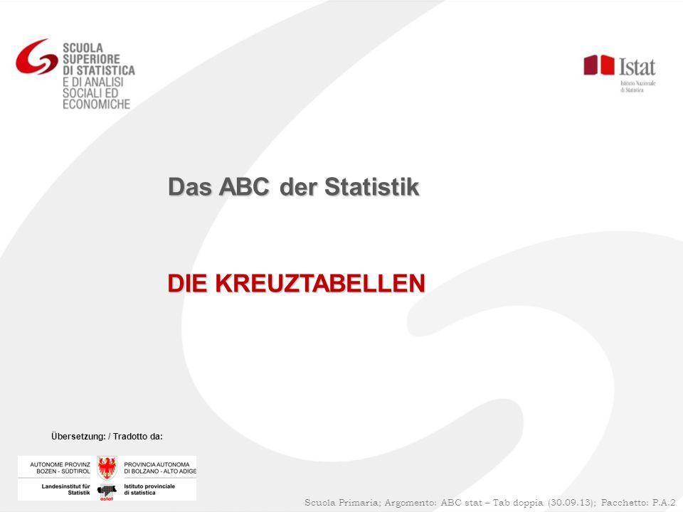 Das ABC der Statistik DIE KREUZTABELLEN 1