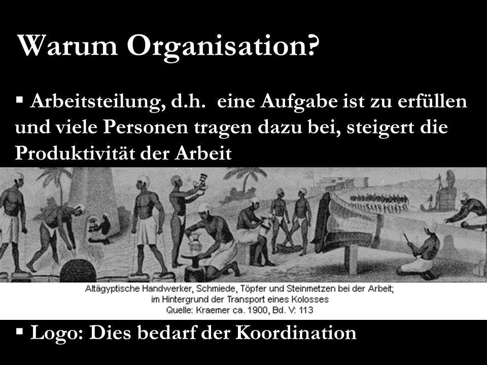 Warum Organisation Arbeitsteilung, d.h. eine Aufgabe ist zu erfüllen und viele Personen tragen dazu bei, steigert die Produktivität der Arbeit.