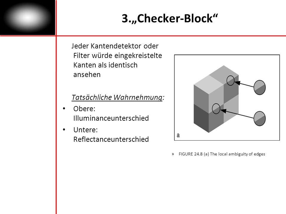 """3.""""Checker-Block Jeder Kantendetektor oder Filter würde eingekreistelte Kanten als identisch ansehen."""