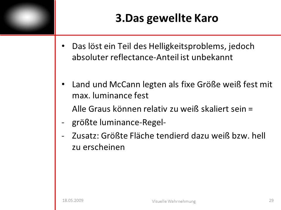 3.Das gewellte Karo Das löst ein Teil des Helligkeitsproblems, jedoch absoluter reflectance-Anteil ist unbekannt.