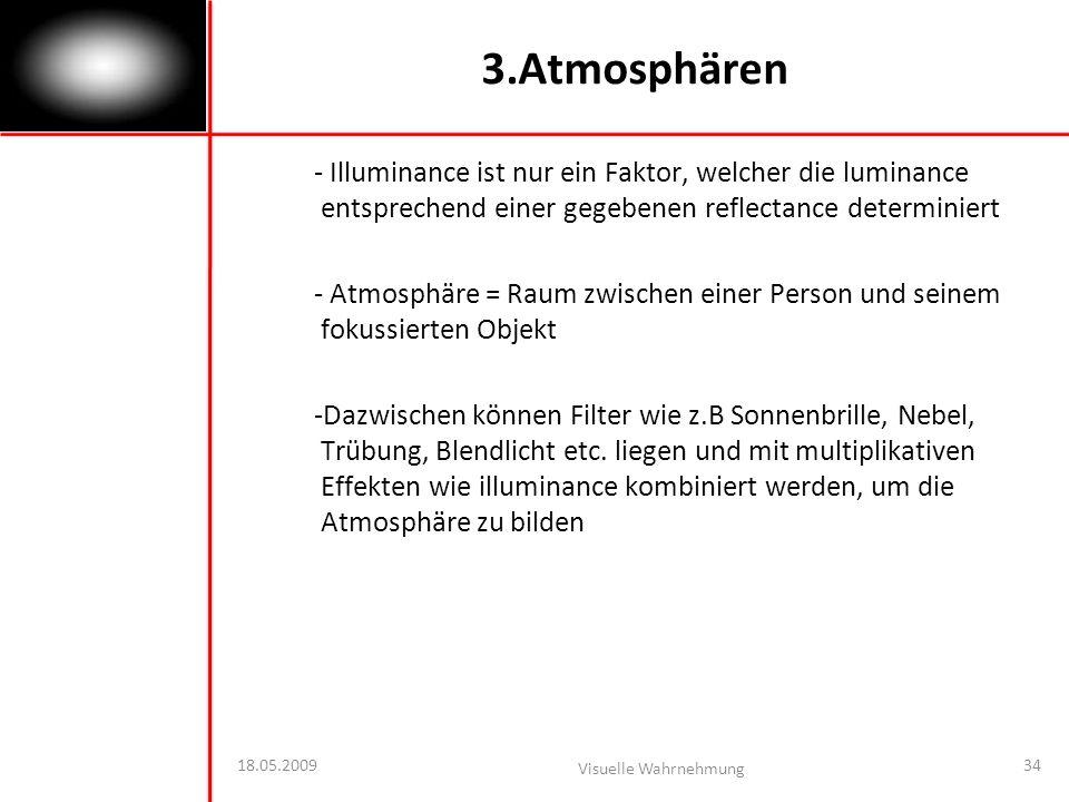 3.Atmosphären - Illuminance ist nur ein Faktor, welcher die luminance entsprechend einer gegebenen reflectance determiniert.
