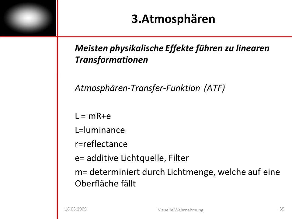 3.Atmosphären Meisten physikalische Effekte führen zu linearen Transformationen. Atmosphären-Transfer-Funktion (ATF)