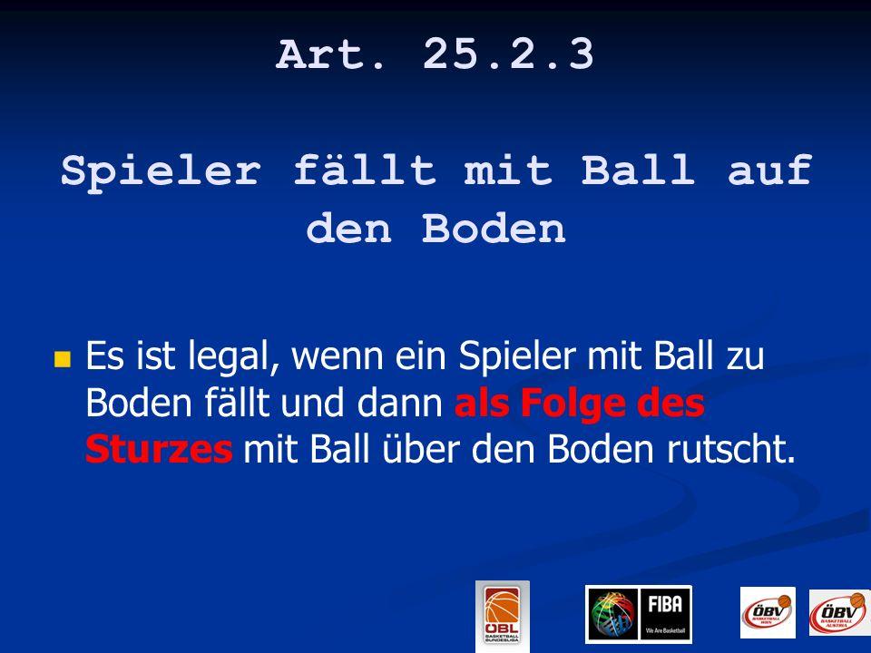 Art. 25.2.3 Spieler fällt mit Ball auf den Boden