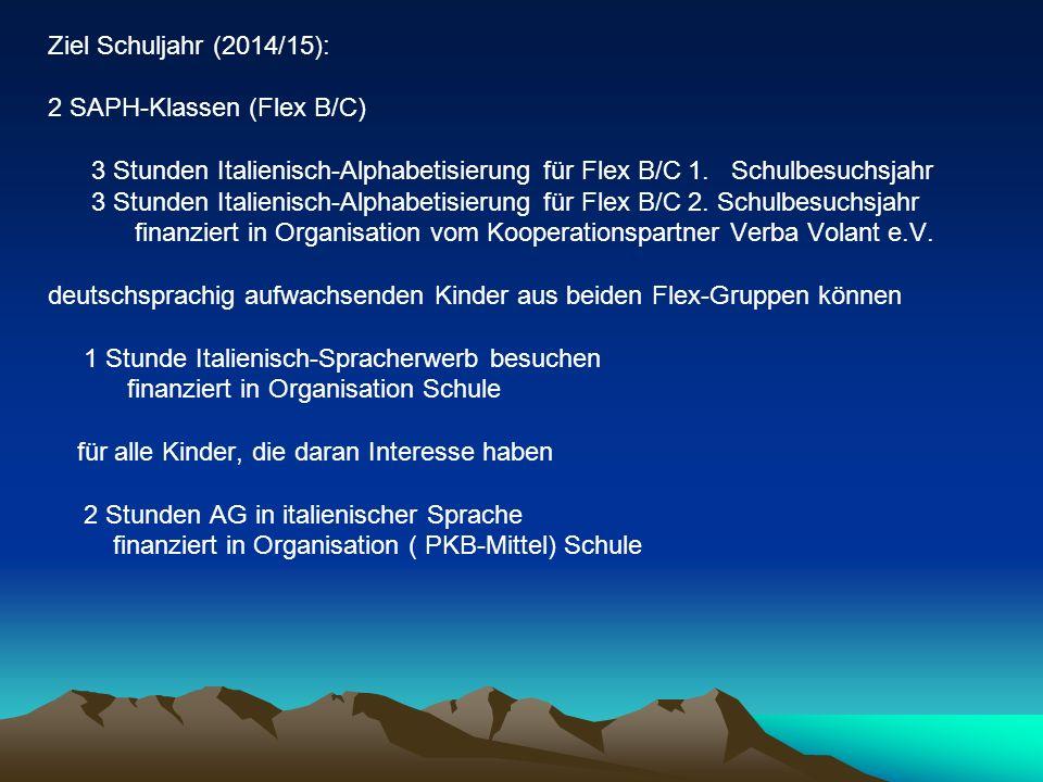 Ziel Schuljahr (2014/15): 2 SAPH-Klassen (Flex B/C) 3 Stunden Italienisch-Alphabetisierung für Flex B/C 1. Schulbesuchsjahr.