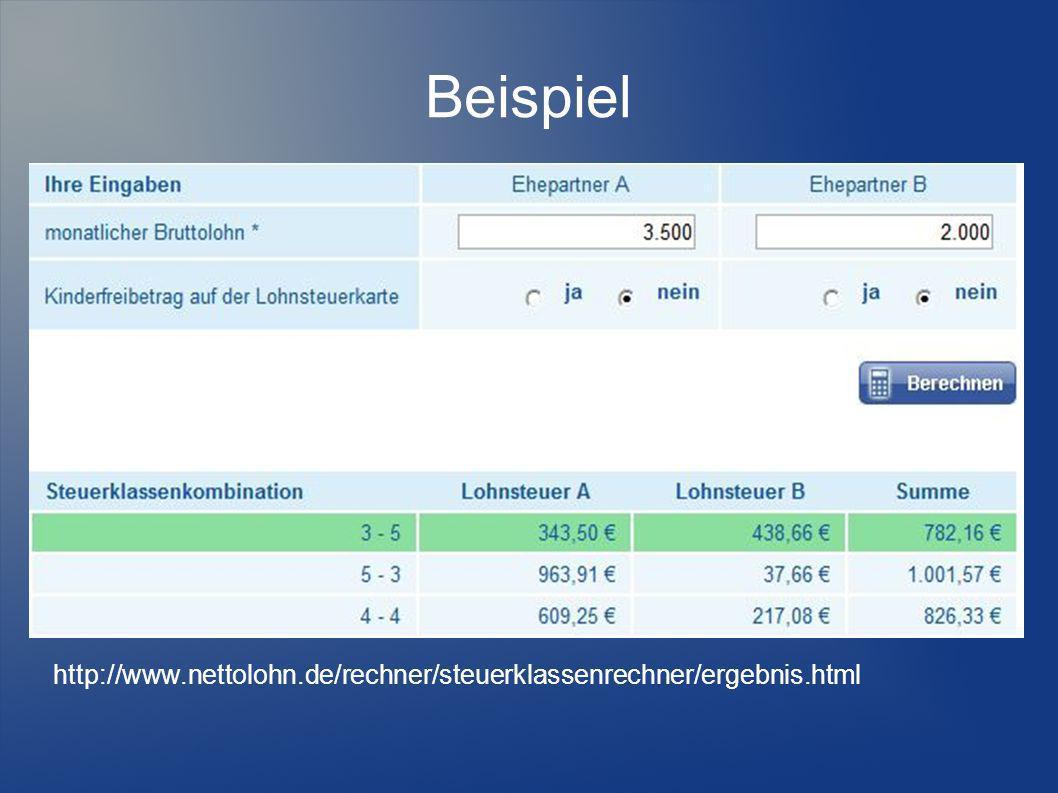 Beispiel http://www.nettolohn.de/rechner/steuerklassenrechner/ergebnis.html