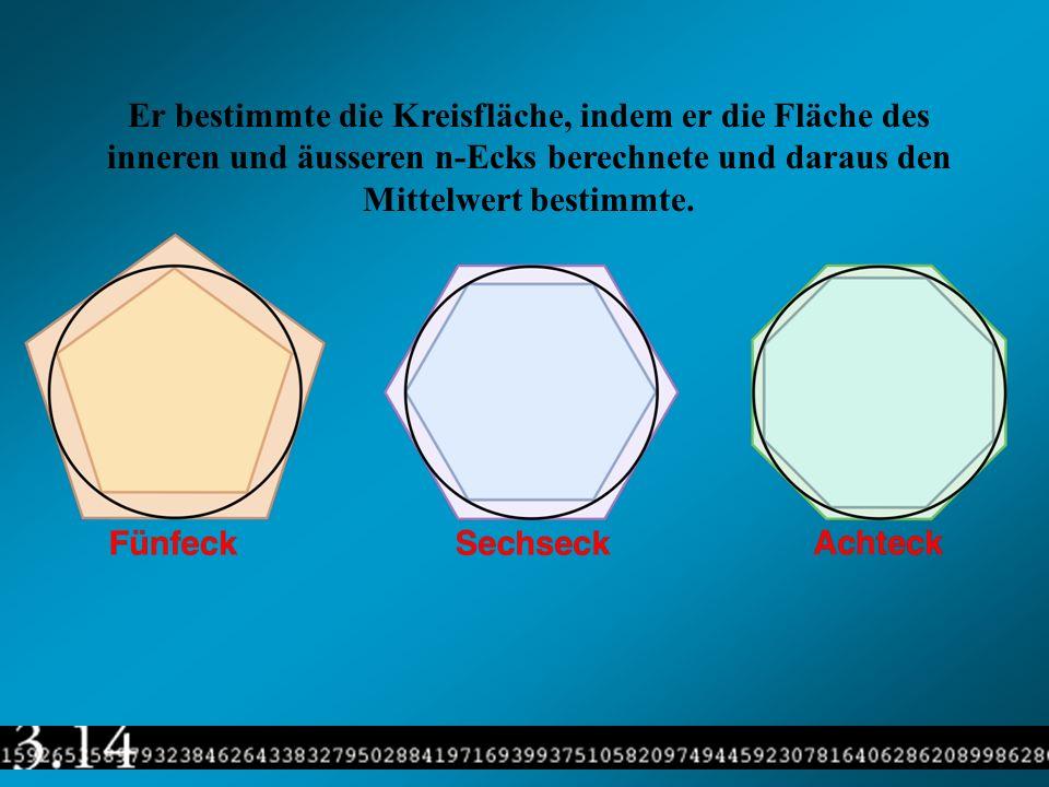 Er bestimmte die Kreisfläche, indem er die Fläche des inneren und äusseren n-Ecks berechnete und daraus den Mittelwert bestimmte.