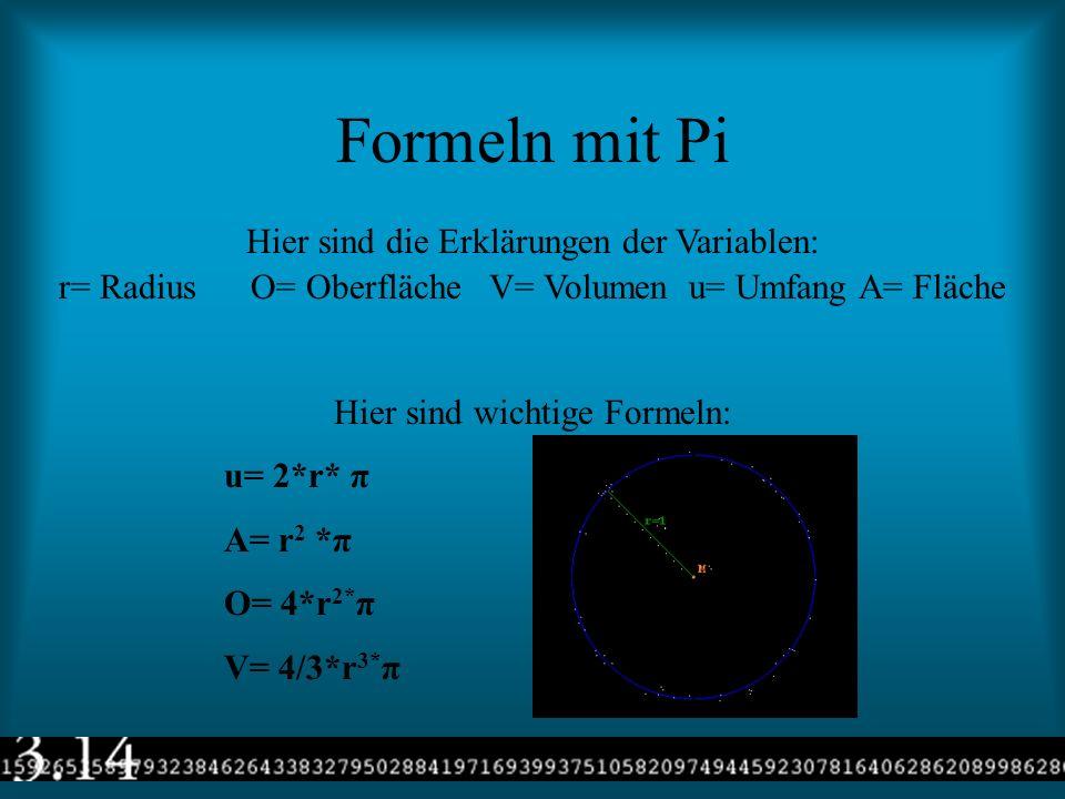 Formeln mit Pi Hier sind die Erklärungen der Variablen: