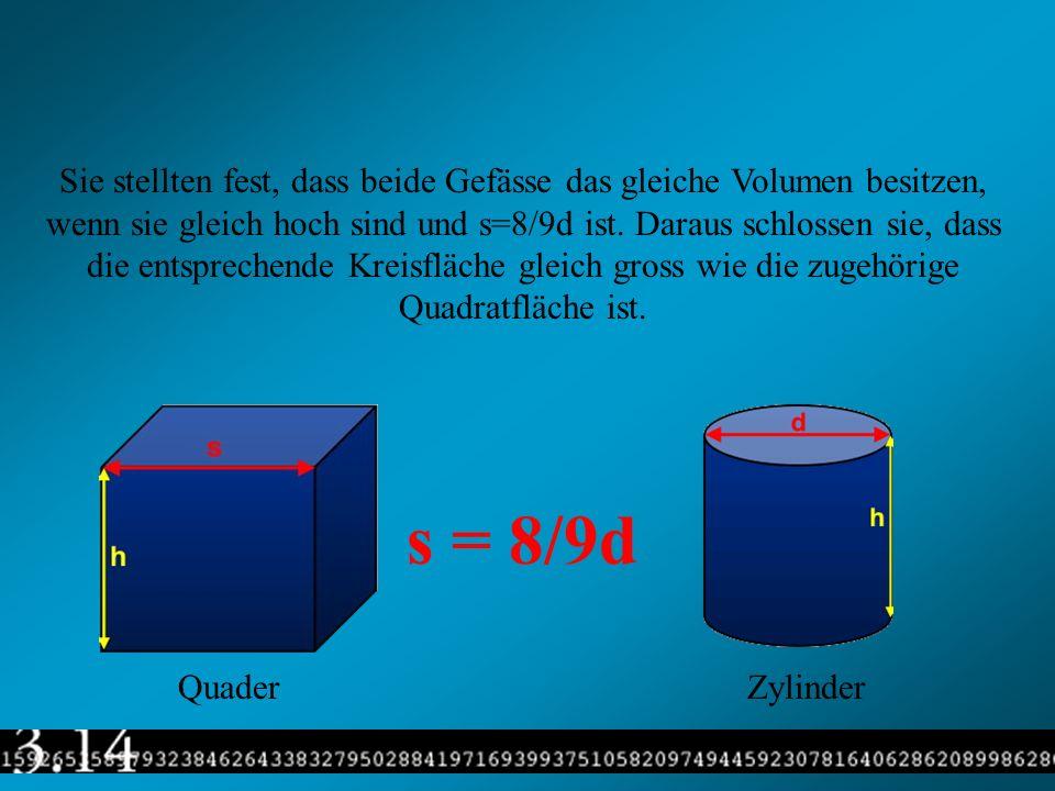 Sie stellten fest, dass beide Gefässe das gleiche Volumen besitzen, wenn sie gleich hoch sind und s=8/9d ist. Daraus schlossen sie, dass die entsprechende Kreisfläche gleich gross wie die zugehörige Quadratfläche ist.