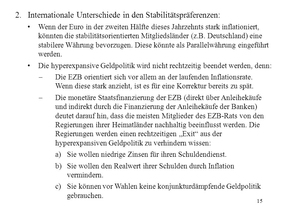 2. Internationale Unterschiede in den Stabilitätspräferenzen: