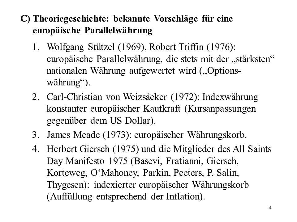 James Meade (1973): europäischer Währungskorb.