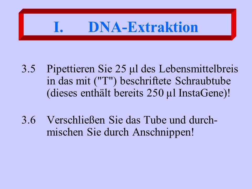 DNA-Extraktion 3.5 Pipettieren Sie 25 μl des Lebensmittelbreis in das mit ( T ) beschriftete Schraubtube (dieses enthält bereits 250 µl InstaGene)!