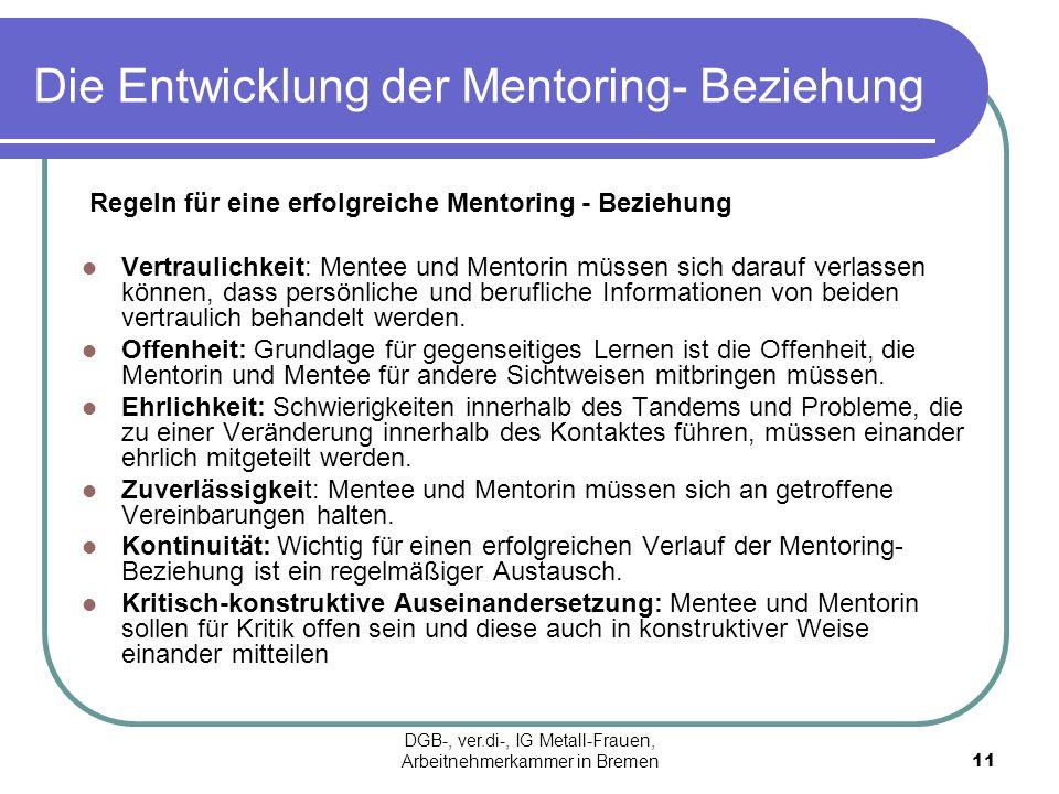 Die Entwicklung der Mentoring- Beziehung