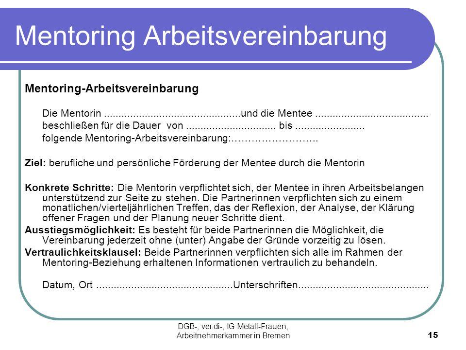 Mentoring Arbeitsvereinbarung