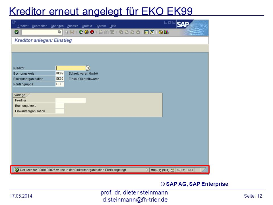Kreditor erneut angelegt für EKO EK99