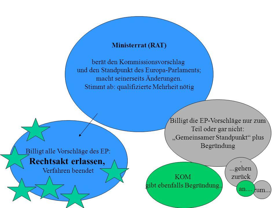 Rechtsakt erlassen, Ministerrat (RAT) berät den Kommissionsvorschlag