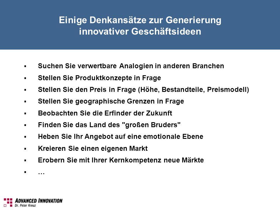Einige Denkansätze zur Generierung innovativer Geschäftsideen