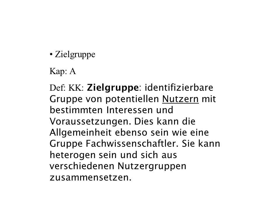 Zielgruppe Kap: A.