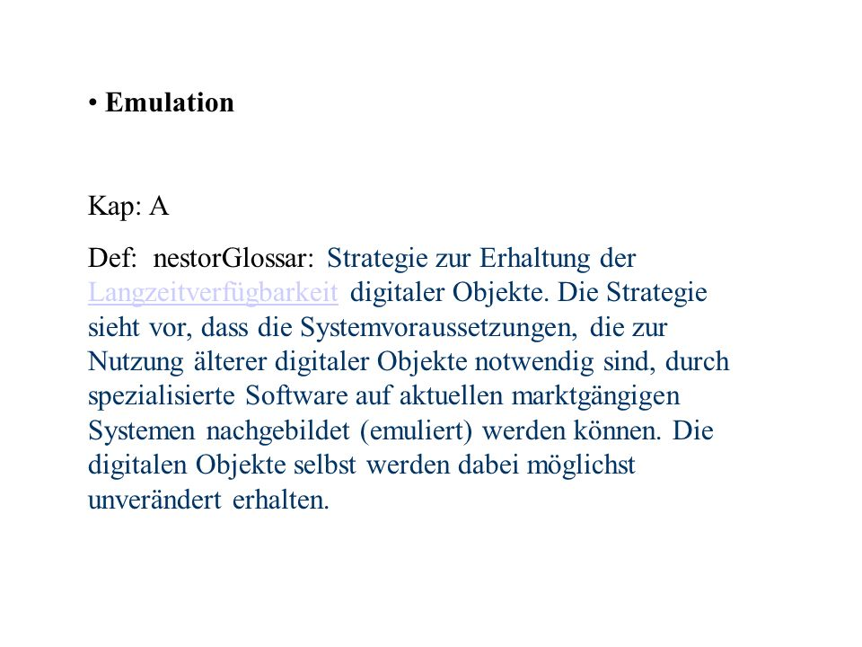 Emulation Kap: A.