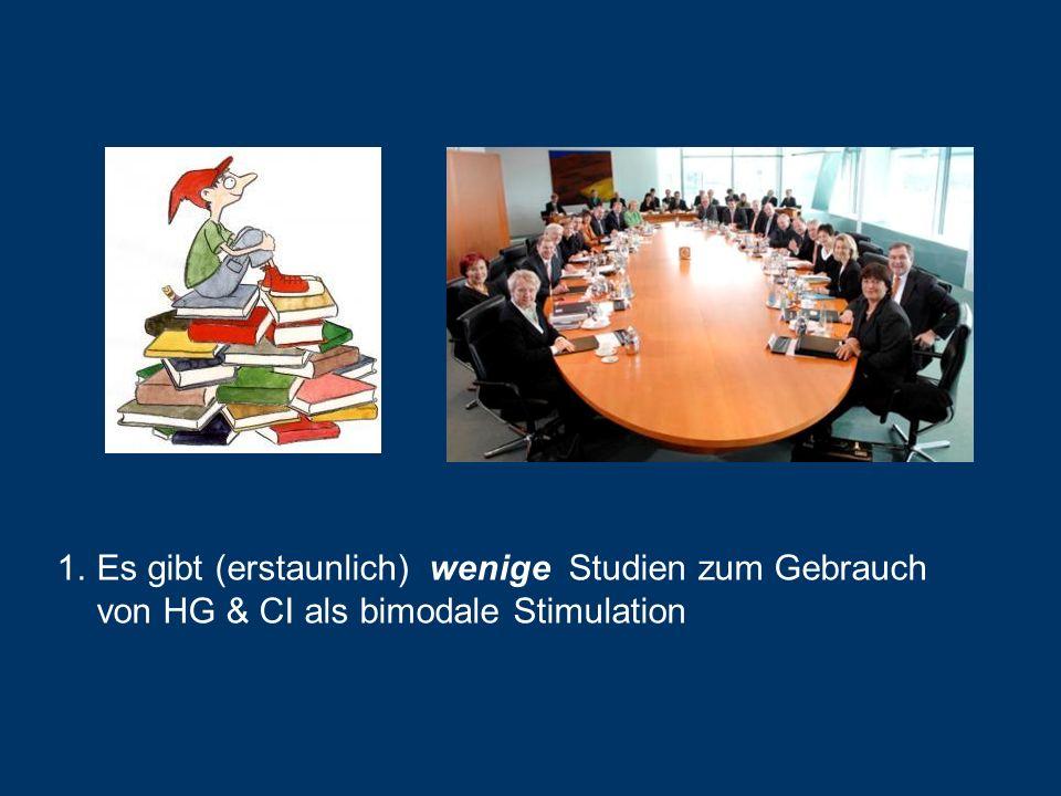 Es gibt (erstaunlich) wenige Studien zum Gebrauch von HG & CI als bimodale Stimulation