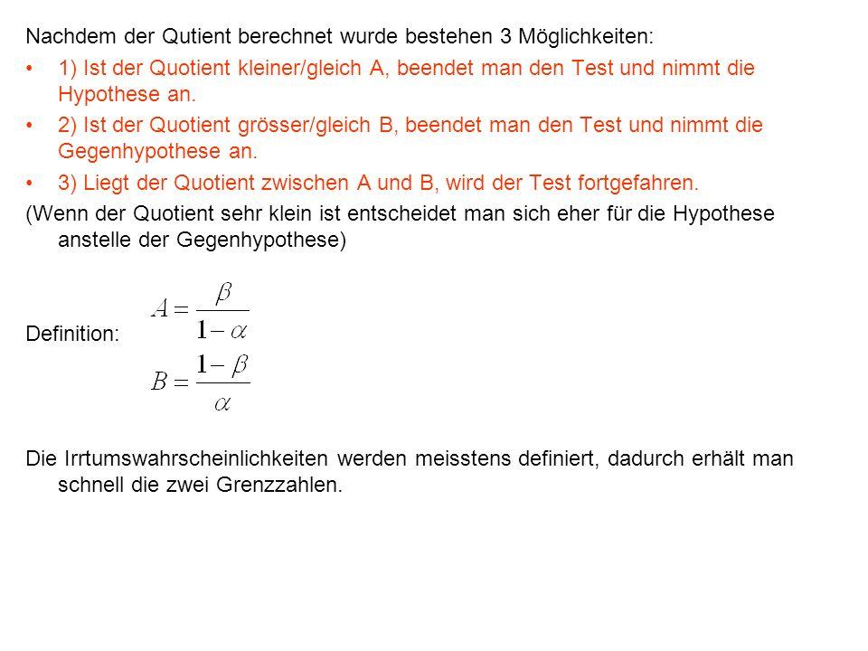 Nachdem der Qutient berechnet wurde bestehen 3 Möglichkeiten: