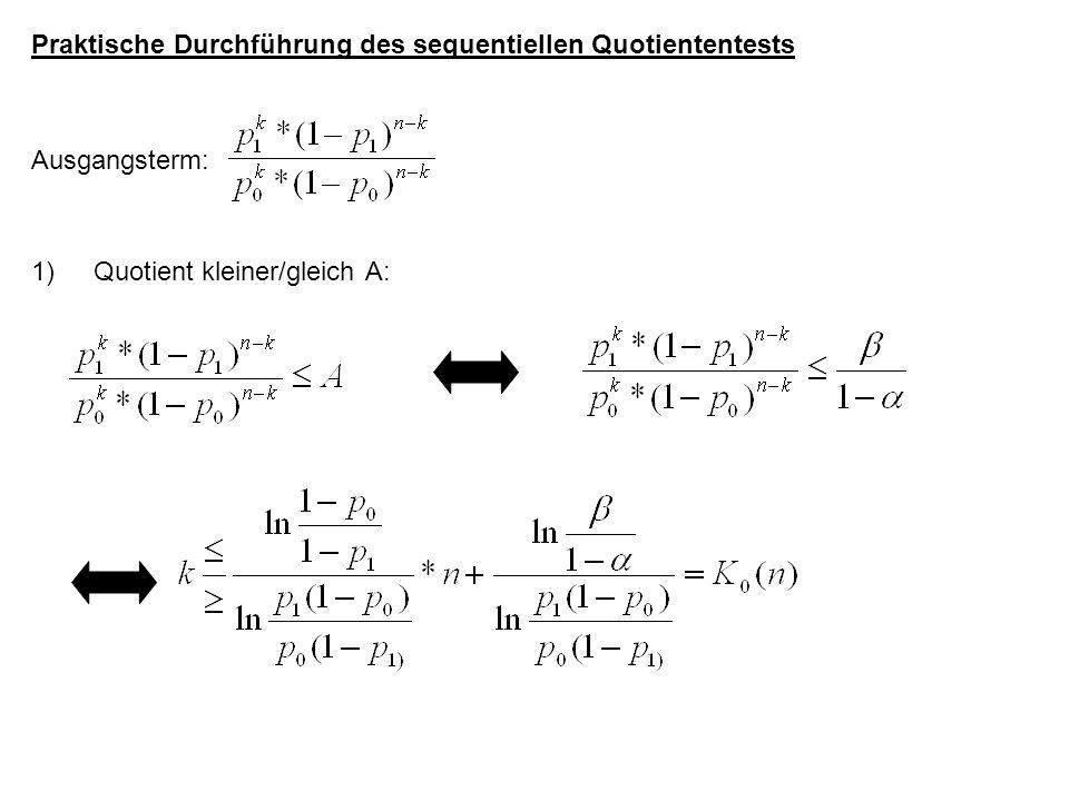Praktische Durchführung des sequentiellen Quotiententests