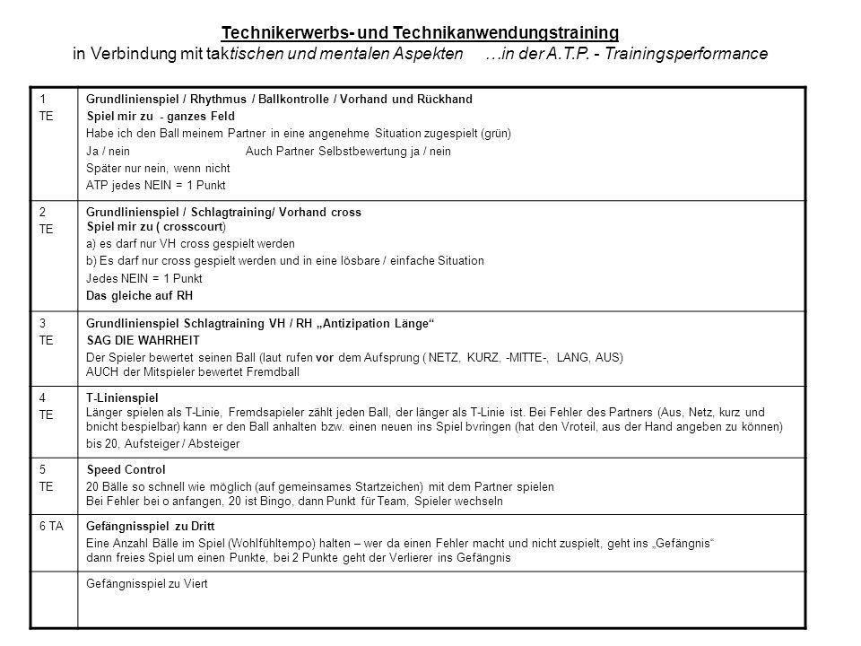 Technikerwerbs- und Technikanwendungstraining in Verbindung mit taktischen und mentalen Aspekten …in der A.T.P. - Trainingsperformance