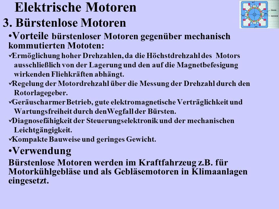 Elektrische Motoren 3. Bürstenlose Motoren