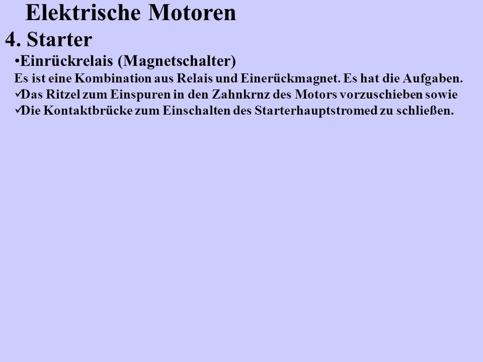 Elektrische Motoren 4. Starter Einrückrelais (Magnetschalter)