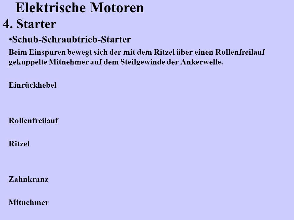 Elektrische Motoren 4. Starter Schub-Schraubtrieb-Starter