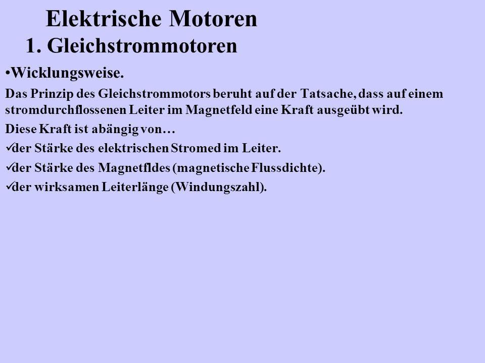 Elektrische Motoren 1. Gleichstrommotoren Wicklungsweise.