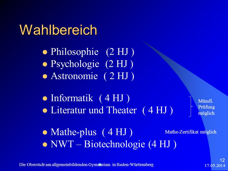 Wahlbereich Philosophie (2 HJ ) Psychologie (2 HJ )