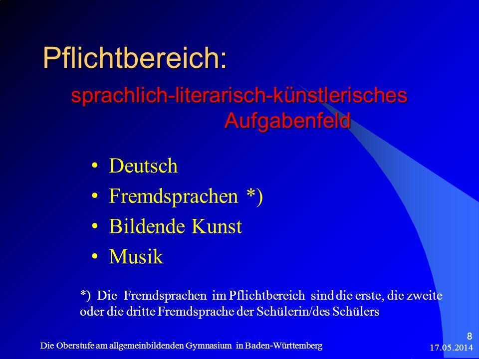 Pflichtbereich: sprachlich-literarisch-künstlerisches Aufgabenfeld