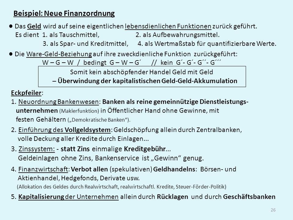 Beispiel: Neue Finanzordnung