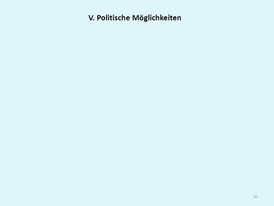 V. Politische Möglichkeiten
