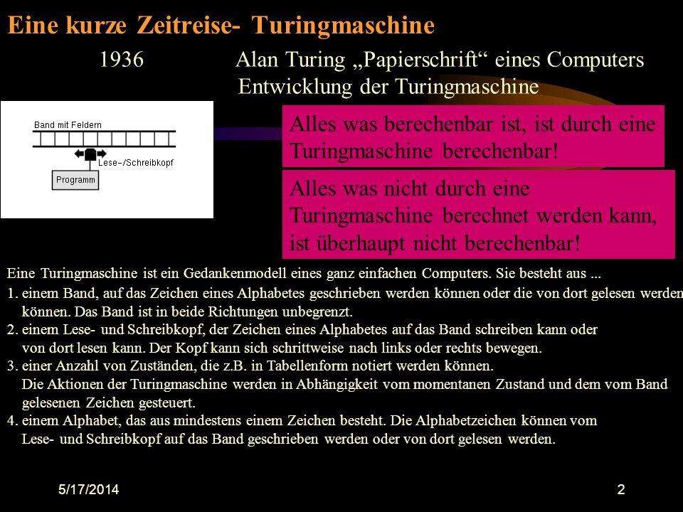 Eine kurze Zeitreise- Turingmaschine