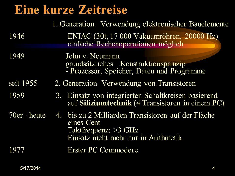 Eine kurze Zeitreise 1. Generation Verwendung elektronischer Bauelemente.