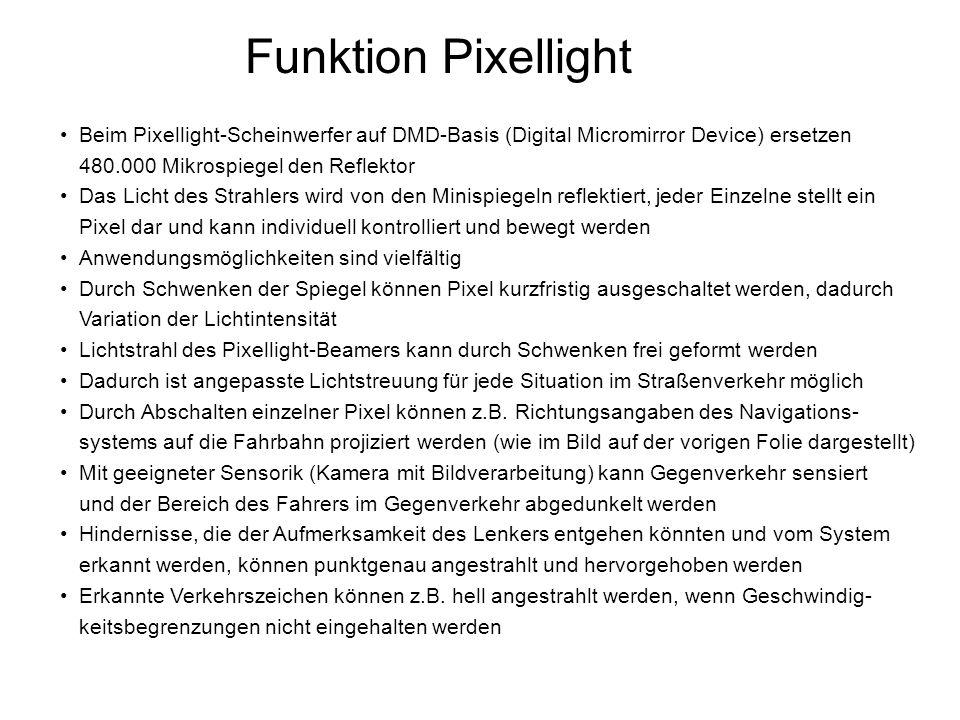 Funktion Pixellight Beim Pixellight-Scheinwerfer auf DMD-Basis (Digital Micromirror Device) ersetzen 480.000 Mikrospiegel den Reflektor.