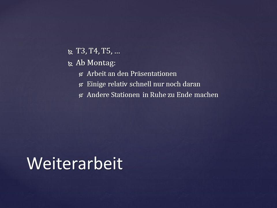 Weiterarbeit T3, T4, T5, … Ab Montag: Arbeit an den Präsentationen