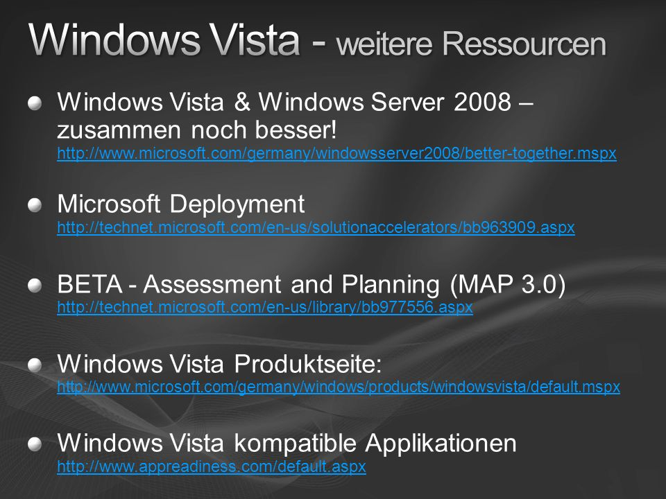 Windows Vista - weitere Ressourcen