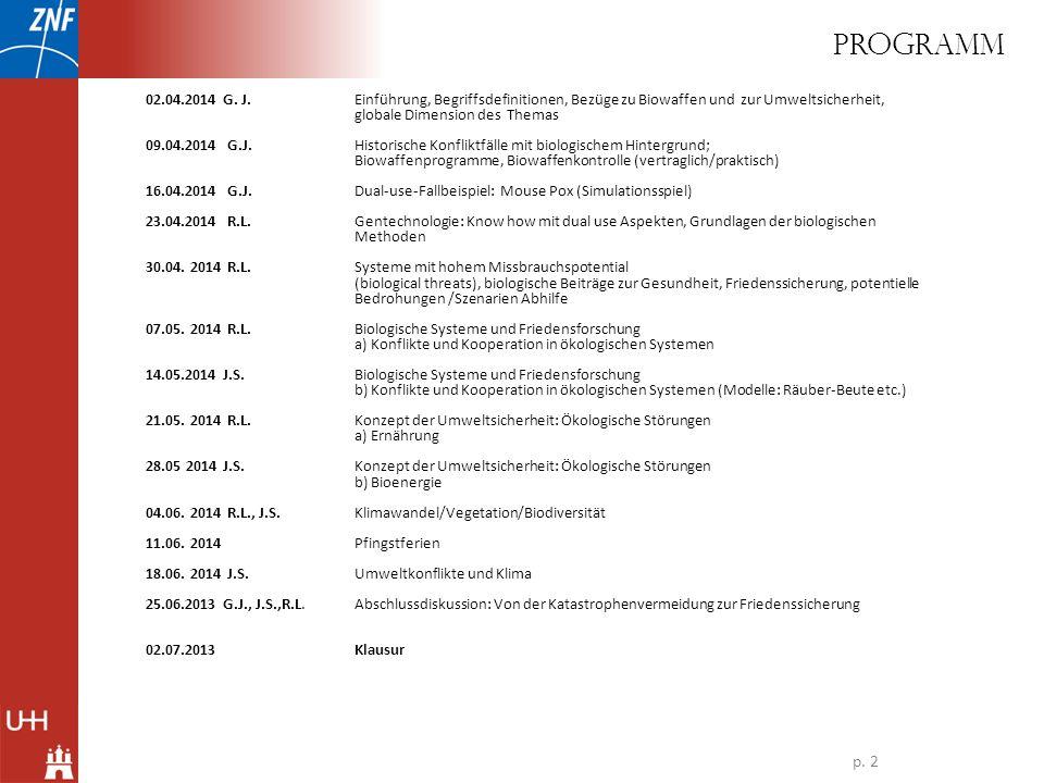 PROGRAMM 02.04.2014 G. J. Einführung, Begriffsdefinitionen, Bezüge zu Biowaffen und zur Umweltsicherheit, globale Dimension des Themas.