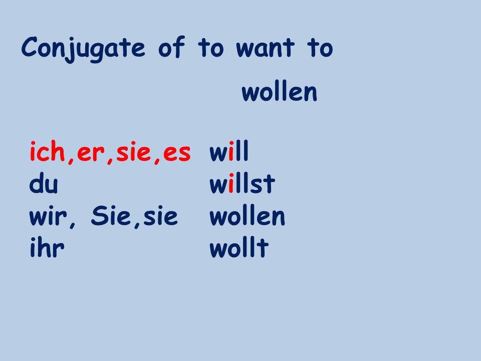 Conjugate of to want to wollen ich,er,sie,es du wir, Sie,sie ihr will willst wollen wollt